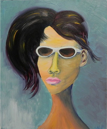 Woman in White Sunglasses